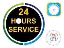Twenty four hours service. Sign Stock Photos