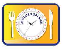 Twenty four hours service. Sign on the dinner set Stock Photography