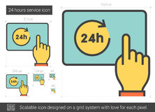 Twenty four hours service line icon. 24 hours service vector line icon isolated on white background. 24 hours service line icon for infographic, website or app Stock Photos
