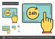 Twenty four hours service line icon. 24 hours service vector line icon isolated on white background. 24 hours service line icon for infographic, website or app Royalty Free Stock Photo