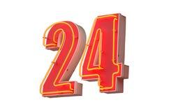 Twenty four. Neon sign isolated on white background Stock Images