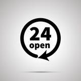 Twenty four open sign, simple black icon Royalty Free Stock Image