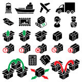 Twenty four parcel delivery icons Stock Photo