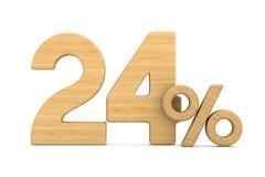 Twenty four percent on white background. Isolated 3D illustratio. N Stock Illustration