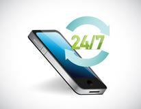 Twenty four seven all day service help phone Stock Photo