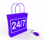 Twenty-four Seven Bag Represents Online Shopping Royalty Free Stock Photo