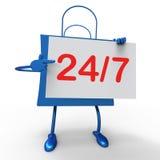 Twenty four Seven Bag Shows Hours Open. Twenty four Seven Bag Showing Hours Open Royalty Free Stock Image