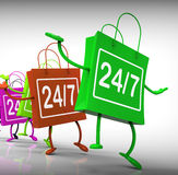 Twenty-four Seven Bags Show Shopping Availability and Open Hours. Twenty-four Seven Bags Showing Shopping Availability and Open Hours Stock Photography