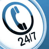 Twenty Four Seven Button Shows Open 24/7 Royalty Free Stock Images