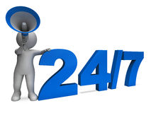 Twenty Four Seven Character Means All Week Or Seven Days. Twenty Four Seven Character Meaning All Week Or Seven Days Stock Image