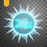 Twenty four seven concept open all days.Illustration of Vector Neon Sign. Open 24 Hours Glowing Neon Frame on. Transparent background. 24 7. Vector Stock Photo