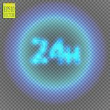 Twenty four seven concept open all days.Illustration of Vector Neon Sign. Open 24 Hours Glowing Neon Frame on. Transparent background. 24 7. Vector Stock Photos