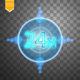 Twenty four seven concept open all days.Illustration of Vector Neon Sign. Open 24 Hours Glowing Neon Frame on. Transparent background. 24 7. Vector Royalty Free Stock Photo