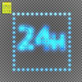 Twenty four seven concept open all days.Illustration of Vector Neon Sign. Open 24 Hours Glowing Neon Frame on. Transparent background. 24 7. Vector Stock Photography