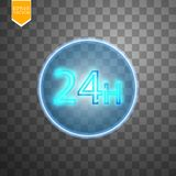 Twenty four seven concept open all days.Illustration of Vector Neon Sign. Open 24 Hours Glowing Neon Frame on. Transparent background. 24 7. Vector Royalty Free Stock Image
