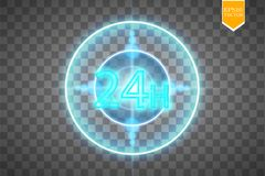 Twenty four seven concept open all days.Illustration of Vector Neon Sign. Open 24 Hours Glowing Neon Frame on. Transparent background. 24 7. Vector Stock Images
