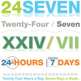 Twenty Four Seven Design Set Stock Photo