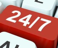 Twenty Four Seven Keys Means All Week. Twenty Four Seven Keys Meaning All Week Days Royalty Free Stock Image
