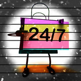 Twenty four Seven Shopping Bag Shows Hours Open Royalty Free Stock Image
