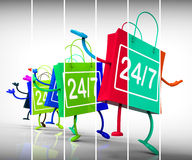 Twenty four seven Shopping Bags Show Availability all Week Long Stock Image