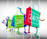 Twenty four seven Shopping Bags Show Availability all Week Long. Twenty-four Seven Shopping Bags Showing Availability All Week Long Stock Image