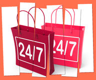 Twenty four Seven Shopping Bags Show Hours Open Royalty Free Stock Photos