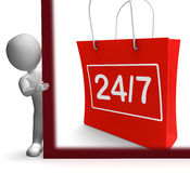 Twenty Four Seven Shopping Sign Shows Open 24/7. Twenty Four Seven Shopping Sign Showing Open 24/7 Royalty Free Stock Photography