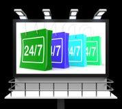 Twenty Four Seven Shopping Sign Shows Open 24/7. Twenty Four Seven Shopping Sign Showing Open 24/7 Stock Photo