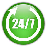 Twenty four seven sign Royalty Free Stock Images