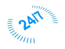 Twenty four seven sign. Illustration of twenty four seven sign; isolated on white background Stock Photos