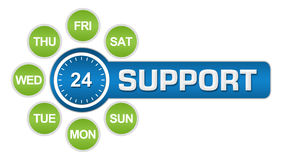 Twenty-Four Seven Support Circular Royalty Free Stock Photo
