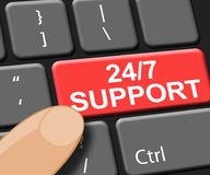 Twenty Four Seven Support Indicates  Asistance 3d Illustration. Twenty Four Seven Support Indicating  Asistance 3d Illustration Stock Image