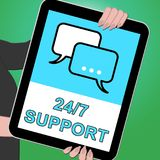 Twenty Four Seven Support Indicating  Asistance 3d Illustration. Twenty Four Seven Support Indicates  Asistance 3d Illustration Royalty Free Stock Photo