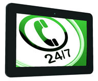 Twenty Four Seven Tablet Shows Open 24/7. Twenty Four Seven Tablet Showing Open 24/7 Royalty Free Stock Photos