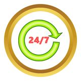 Twenty four seven vector icon. Twenty four sevenl vector icon in golden circle, cartoon style isolated on white background Stock Photography