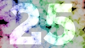 Twenty four to twenty five years birthday fade in/out animation with color gradient moving bokeh background. Animation: 90 frames still with number, 180 fade royalty free illustration