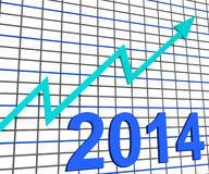 Twenty Fourteen Graph Chart Shows Increase. Twenty Fourteen Graph Chart Showing Increase In 2014 Stock Images