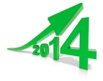 Twenty fourteen growth. Green arrow of growth for twenty fourteen stock illustration