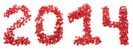 Twenty-fourteenth New Year of red stars Stock Photo