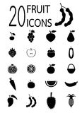 Twenty fruit icons Royalty Free Stock Photos