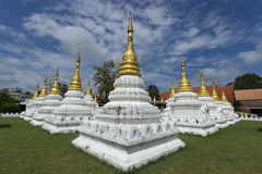 Twenty golden pagodas in temple Royalty Free Stock Images