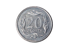 Twenty groszy. Polish zloty. The Currency Of Poland. Macro photo of a coin. Poland depicts a Twenty-Polish groszy coin. Isolated on white background Stock Images