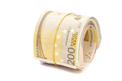 Twenty hundredth banknotes under rubber band Royalty Free Stock Image