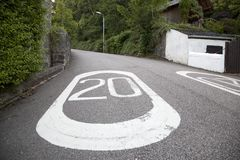 Twenty Mile Per Hour Speed Limit Marking Stock Photography