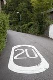 Twenty Mile Per Hour Speed Limit Markings Stock Photo