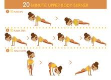 Twenty minute upper body burner. Set royalty free illustration