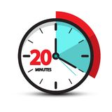 Twenty Minutes Clock Face Icon. vector illustration
