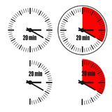 Twenty Minutes Clock on white background. Four options Vector Illustration