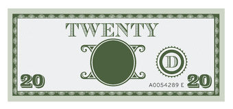 Twenty money bill image. With space to add your te Royalty Free Stock Image