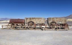 Twenty Mule Team Wagon Harmony Borax Works Death Valley National Park. Exhibit of Twenty Mule Team Wagon used to haul ore from Harmony Borax Works near Furnace Royalty Free Stock Images